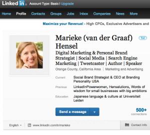 Marieke Hensel LinkedIn Profile
